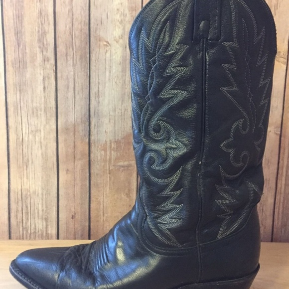 cd606aac919 Dan Post DP Distressed Black Leather Cowboy Boots